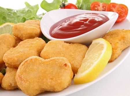plate of nuggets and ketchup photo