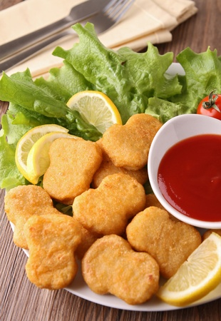 nuggets de pollo: frito pepitas