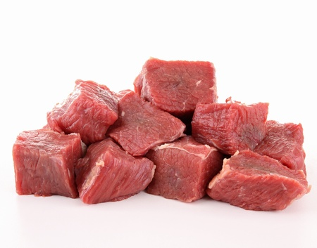 raw fresh beef cubes photo