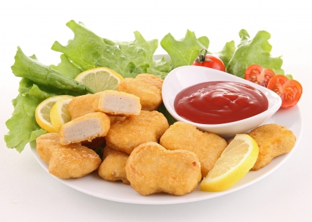 nuggets and ketchup Stock Photo