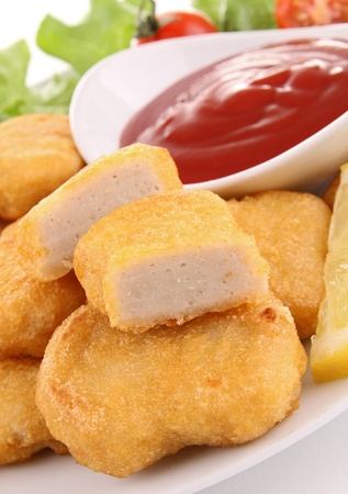 chicken nuggets: nuggets and ketchup Stock Photo