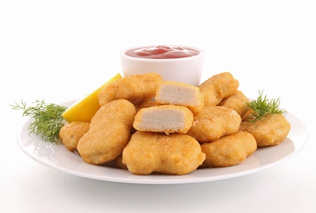 chicken nuggets: plate of nuggets Stock Photo
