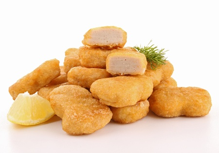 nuggets de poulet: p�pites isol� Banque d'images