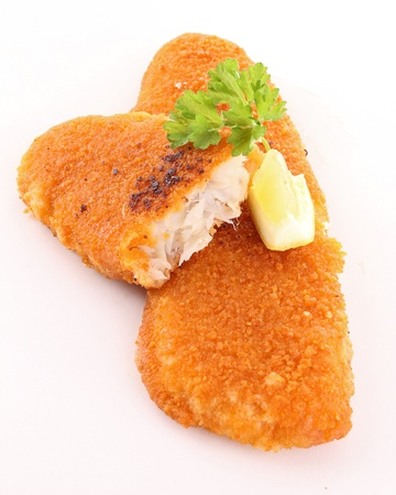 breaded: isolated fried fish