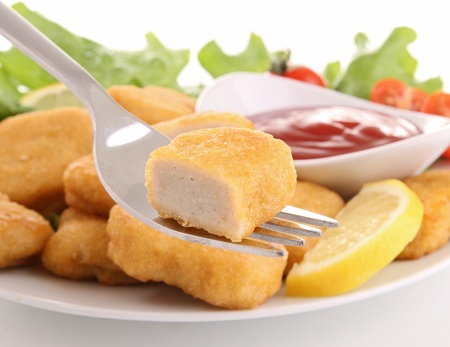 Chicken Nuggets: pepitas y salsa de tomate