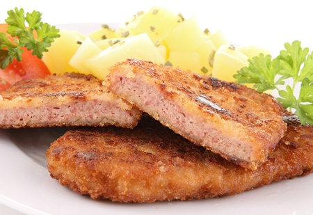 breaded meat and potato photo
