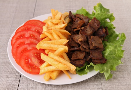 grilled kebab meat and vegetable photo