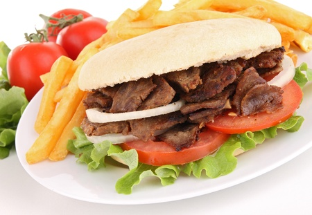 kebab and french fries photo