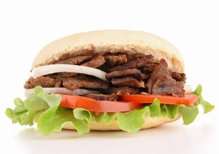 pinchos morunos: aislado kebab Foto de archivo