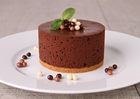 chocolate biscuits: chocolate mousse cake Stock Photo