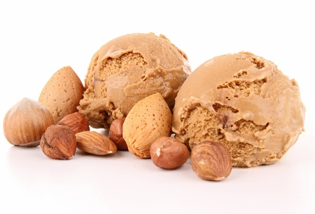 hazelnut: iolated scoop of icecream Stock Photo