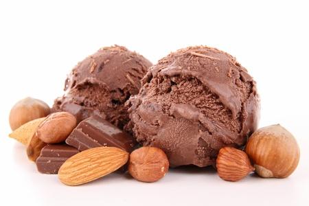 helado de chocolate: cuchara aislado de helado