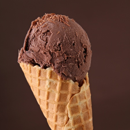 chocolate ice cream: chocolate ice cream in cone