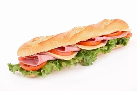 ham: geïsoleerde sandwich Stockfoto