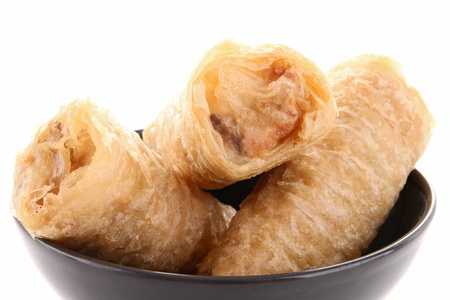 isolated spring roll photo