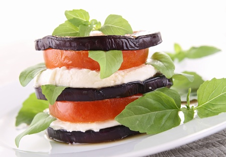 aubergine with mozzarella and tomato Stock Photo - 13242111