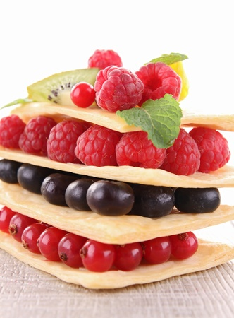 mille: berry fruit mille feuille Stock Photo
