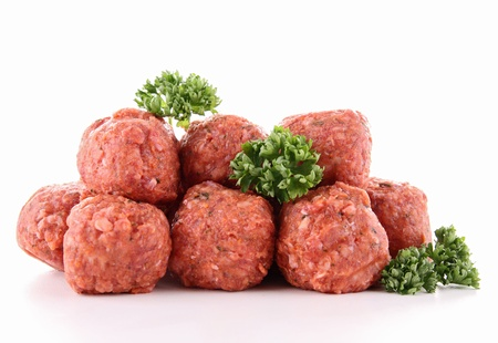 isolated raw meatballs photo