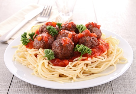 spaghetti: spaghetti en gehaktbal Stockfoto