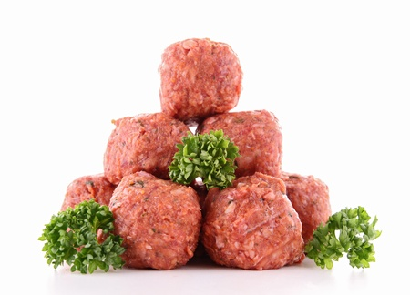 minced beef: raw meatballs Stock Photo