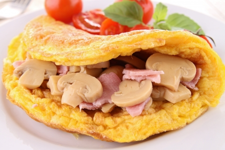 fried omelette with mushroom photo
