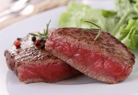 beefsteak: grilled beefsteak and vegetable Stock Photo