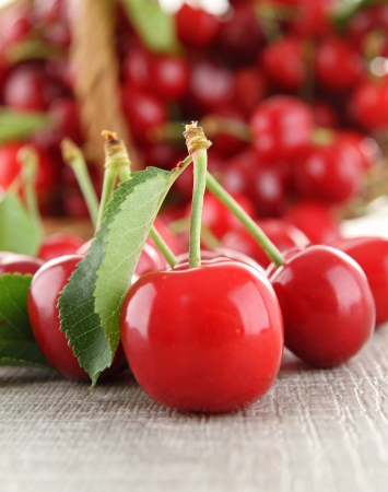 cherries: heap of cherry and leaf