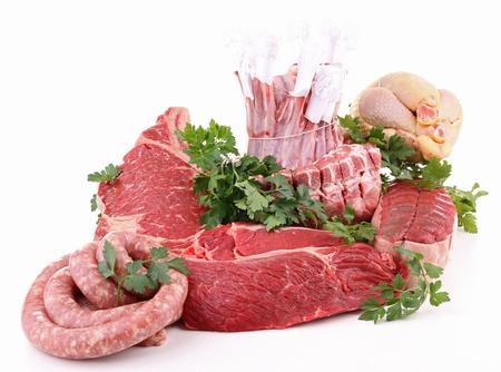 carnes: surtido de frescas las carnes crudas