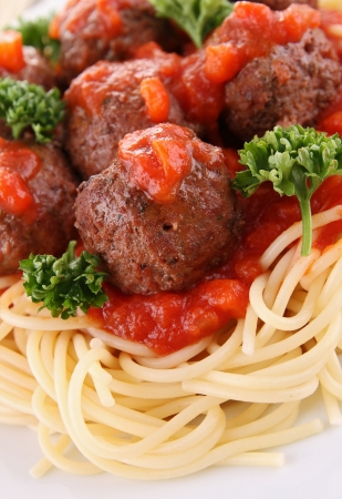 spaghetti, tomato sauce and meat balls photo