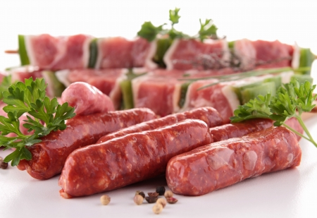 carnes: surtido de carnes crudas Foto de archivo