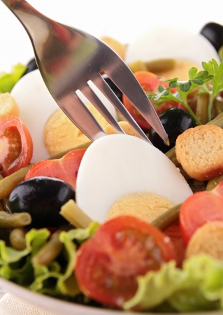 vegetables salad and fork photo