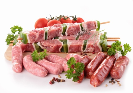 sausages: assortment of raw meats