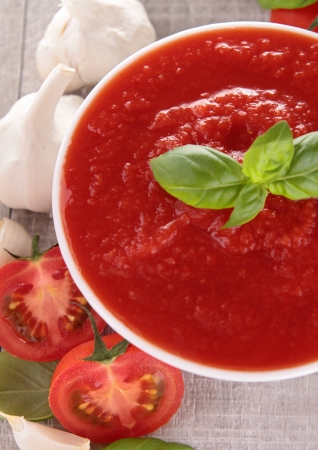 ketchup: bowl of tomato saucesoup Stock Photo