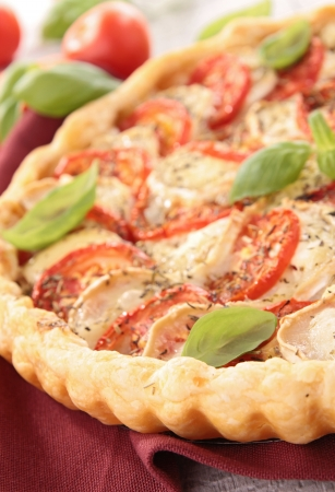 tomato,cheese and basil tart photo