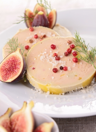 foie gras: slice of foie gras and fig Stock Photo