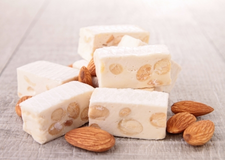 nougat: heap of nougat Stock Photo