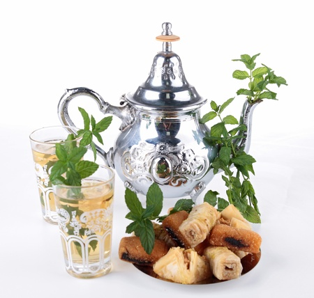 moroccan culture: tea and pastry Stock Photo