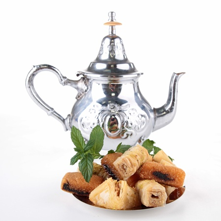 arabian food: teapot and pastry Stock Photo