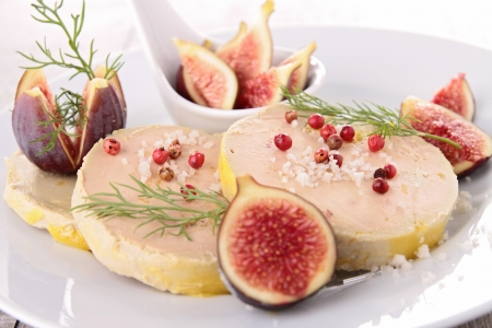 foie gras: plate with foie gras and fresh fig