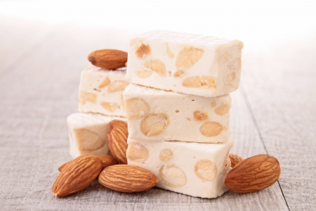 nougat: nougat and nut Stock Photo