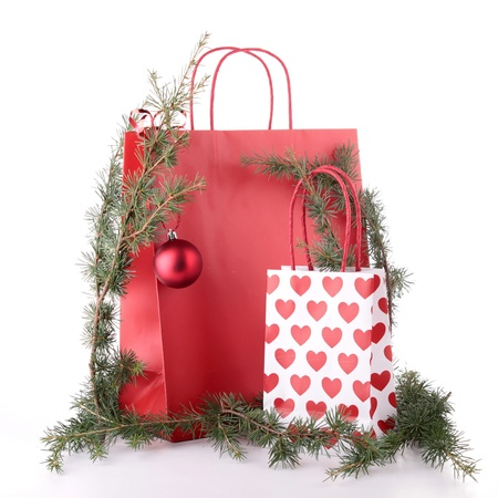 shopping bag and christmas decoration photo