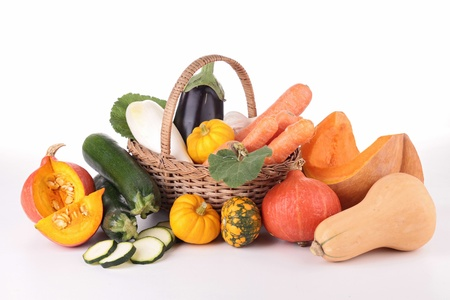 squash: wicker basket with vegetable