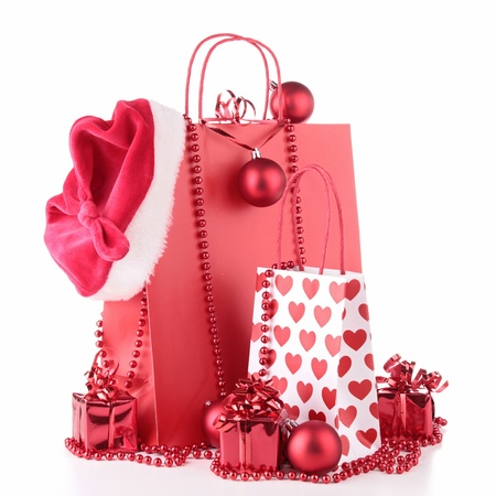 christmas shopping: christmas shopping bag and decoration Stock Photo