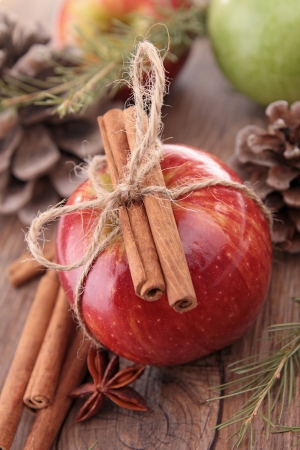 apple christmas: apple with cinnamon Stock Photo