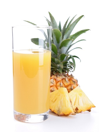 and pineapple juice: pineapple juice isolated on white Stock Photo