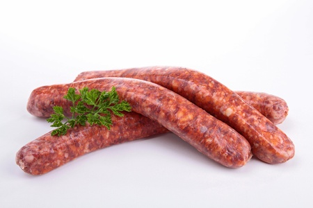 frankfurters: isolated raw sausage