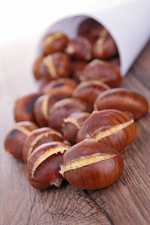 maroni: grilled chestnut Stock Photo
