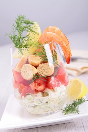 appetize: healthy appetizer with shrimp Stock Photo