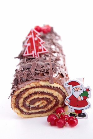 swiss roll: Yule log, swiss roll Stock Photo