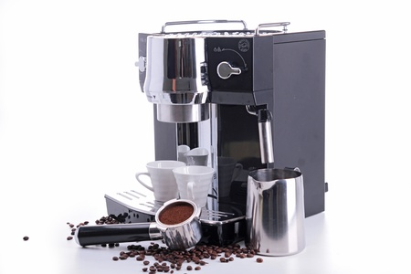 coffee machine: coffee marker with cup and coffee bean